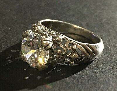 Antique Victorian Natural Rock Crystal Sterling Silver 925 Ring Sz-8.25 (5g)