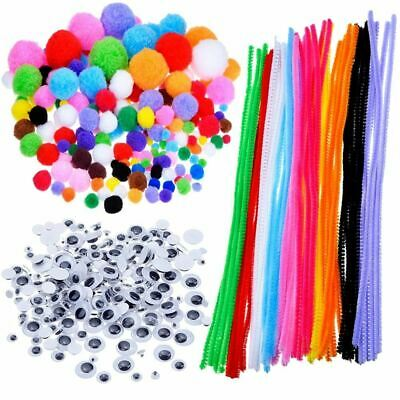 Pompoms, Self-sticking Wiggle Googly Eyes, Chenille Stems for Craft DIY Art Supp