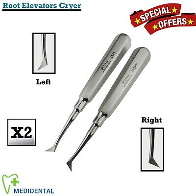 Set Of 2 Surgical Root Elevators Cryer Left & Right Tooth Oral Surgery Tools NEW