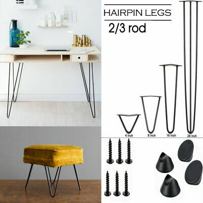 4 Metal Table Legs Iron Hairpin Kitchen Coffee Bench Stool Table Leg Black 2 Rod