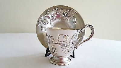 Antique WMF Cup with saucer Art Nouveau Hallmarked. Unique 210 grams New price
