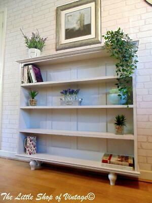 Solid Oak Bookcase Dresser Display Cabinet Shelves Shabby Chic 4ft Wide Slim