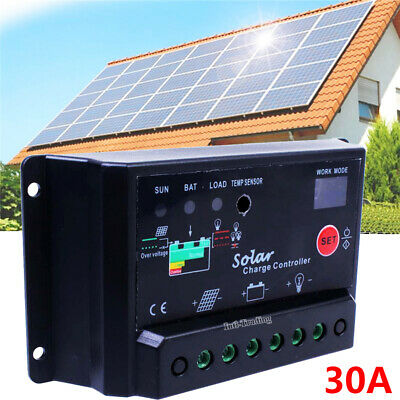 PWM 30A AMP 12V/24V Intelligent Solar Charge Controller Solar Panel Battery