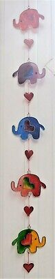 ELEPHANTS AND HEARTS  SUNCATCHER 71 cm STAINED GLASS EFFECT