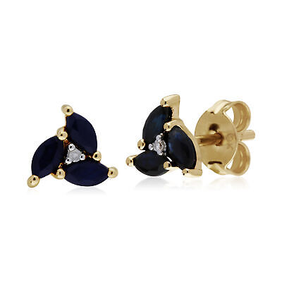 Gemondo 9ct Yellow Gold Sapphire Marquise Cluster Stud Earrings