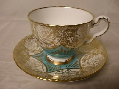 Vintage Royal Stafford Bone China Teacup  & Saucer Turquoise w Gold Roses