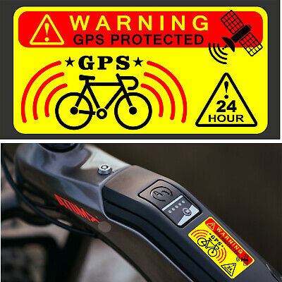 3 X GPS Tracking Warning Stickers Sign Bicycle Bike Theft Prevention Security +