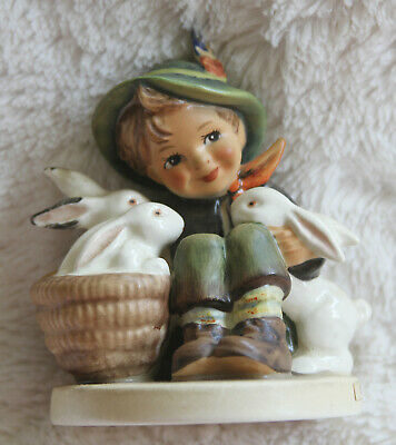 """Goebel Hummel """"PLAYMATES"""" 58/0 """"Boy With Bunnies"""" W. Germany, Excellent!!!!!"""