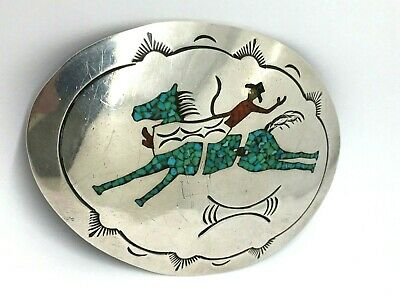 Vintage Native American COWBOY HORSE BUCKLE BELT sterling silver turquoise coral
