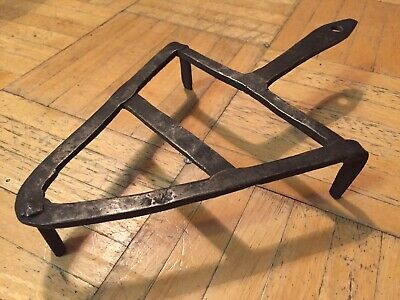 18th Century Hand Forged Iron Trivet Great Triangle Form W Great Hand Made Look