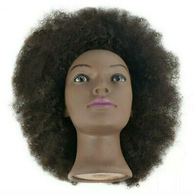 "10"" Mannequin Head African American with 100% Human Hair Cosmetology Afro Hai..."