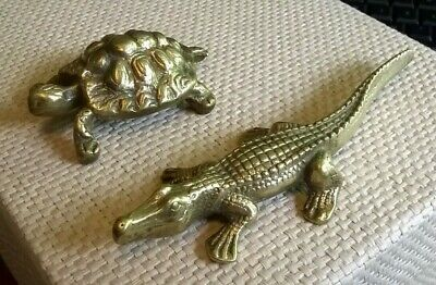 vintage solid brass reptiles Tortoise / Turtles & crocodile / aligator models uk