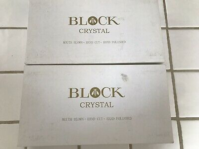 Block Crystal Cordial Set of 6 Mouth Blown, Hand Cut Multi Color Kaleidoscope