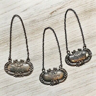 3 Vintage Sterling Silver Bottle Chain Tags Decanter Label Sherry Rye Scotch