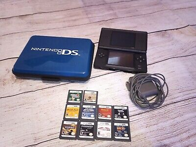 Nintendo DS Lite Handheld Console Onyx Black - 10 games, charger, and case