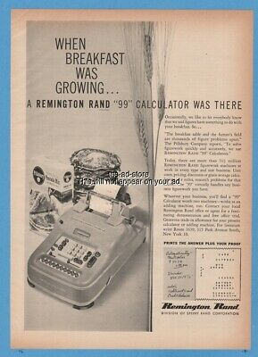 1960 Remington Rand 99 Calculators Pillsbury Company Pancakes Vintage Ad