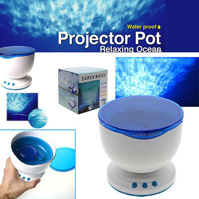 LED Romantic Blue Ocean Waves Night Light Projector Lamp with Stereo Speaker