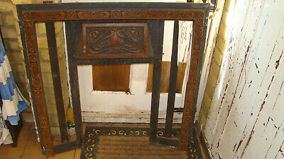 "Cast Iron Victorian Style Fireplace Beautiful Tiles 35.5"" x 35.5"" Art Nouveau"