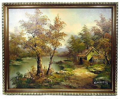 Framed Painting Country Landscape 1980's Oil on Board C. Inness 36 x 45 cm
