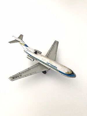 Lufthansa Boeing 727 Retro Friction Tin Toy T.T Made In Japan Blech Airplane