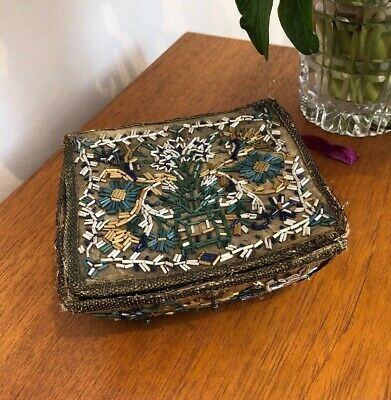 Antique French Late 1700s Early 1800s Glass Beaded Fabric Covered Box Casket Old
