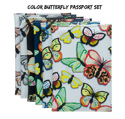 Luxury Butterflies Patterned PU Leather Passport Cover Travel ID Wallet Case
