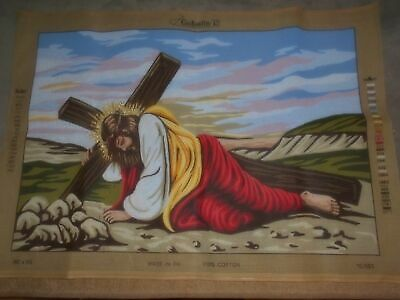 Jesus With The Cross Partially Started Unfinished Tapestry Needlepoint Canvas