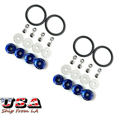 JDM Chrome Quick Release Fasteners Car Bumper Trunk Fender Hatch Lids Kit - Blue