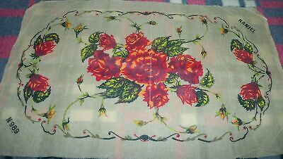 RANIEL RED ROSES TABLE RUNNER PRINTED TAPESTRY CANVAS WITH 2 DOILIES (70X45 cm)