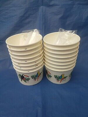 36x ICE CREAM TUBS CUPS with  SCOOPS Party Van Parlour