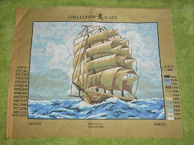 COLLECTION D'ART SAILING SHIP PRINTED TAPESTRY CANVAS NEEDLEPOINT (39X29cm)