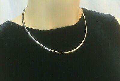 """Solid STERLING SILVER OMEGA Choker 16 in. """" Italy NECKLACE 925 Italy 18g curved"""