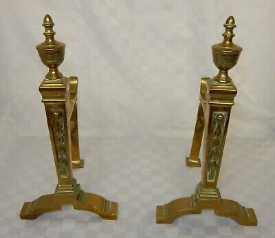 Vintage Pair Neoclassical Style Brass Fire Dogs Andirons Fireplace Accessories