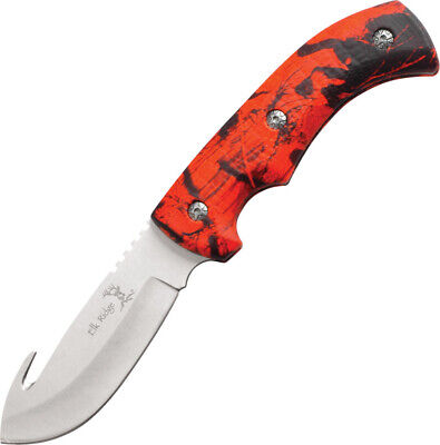 """Elk Ridge Knives 9"""" overall. 4"""" 440 stainless guthook blade. Full tang. Red camo"""