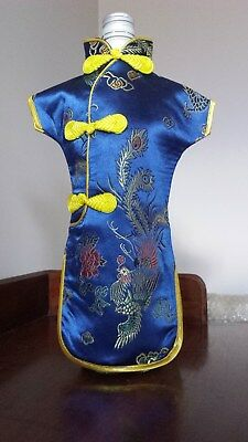 Wine Bottle Dress Blue Embroidered Chinese Cheongsam Cover BNWT