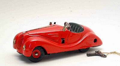 Vintage Schuco Examico 4001 Tin Litho Wind Up With Key Germany Red Sports Car