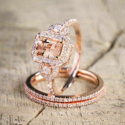 18K Rose Gold Plated Elegant Morganite Gemstone Ring Set Bridal Wedding Jewelry