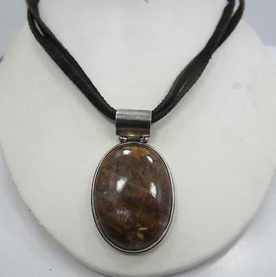 Sterling Silver EXLX 925 brown Tigers Eye adjustable Leather necklace pendant
