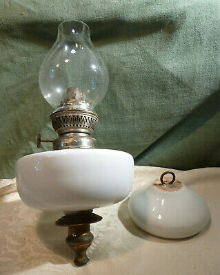 Antique French White China Oil Lamp & Glass Shade -Ceiling Hung Needs bracket ?