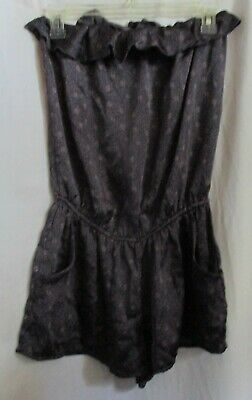 Women's (Size M) XXI Deep Purple With Pink Flowers Sleeveless Romper 2 Pockets
