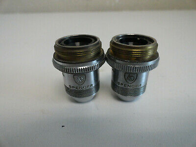 2x American Optical Spencer Microscope Objective 10x N.A. .25 Cat.176 Objective