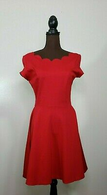 b44c81db1077 Love Ady Red Scallop Trim Crew Neck Fit Flare Dress Size Large Cap Sleeve  Knit