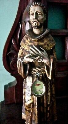 Estate Sale: 19th cent. Reliquary Statue w/ first class relic St. Francis Assisi
