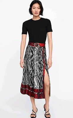 5b1089238 Zara Animal print pleated Midi Skirt RRP £69.99 sold out online new with  tags