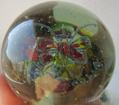 Hand Blown Vintage Art Glass PAPERWEIGHT with butterfly, signed inside