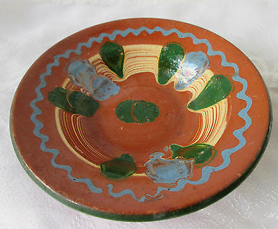 Antique vintage painted GLAZED POTTERY CERAMIC BOWL  / plate  wall  hanging  ART
