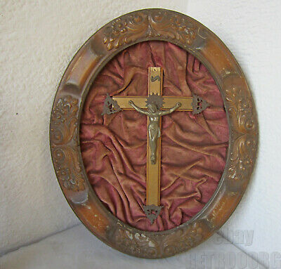 """17"""" 19thC  Antique religious hand carved wooden frame wall cross crucifix Jesus"""