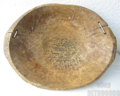 Antique PRIMITIVE  HAND  HEWN CARVED WOODEN dough BOWL with repairs
