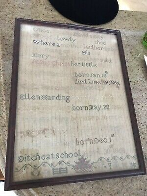 Antique Sampler from 1868 CHRISTMAS & Harding Family History (Ditcheat School)