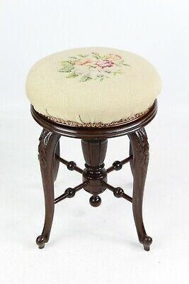 Antique Victorian Mahogany Rise Fall Piano Stool Music Seat Dressing Table Chair